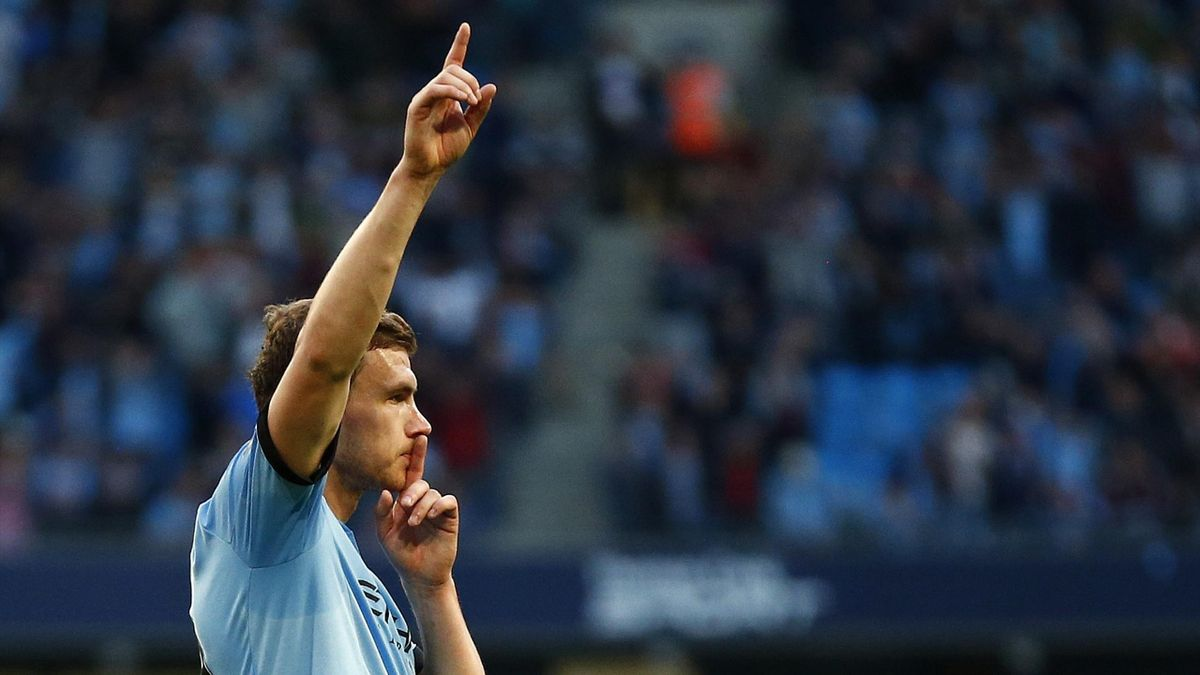 Manchester City's Edin Dzeko celebrates (Reuters)