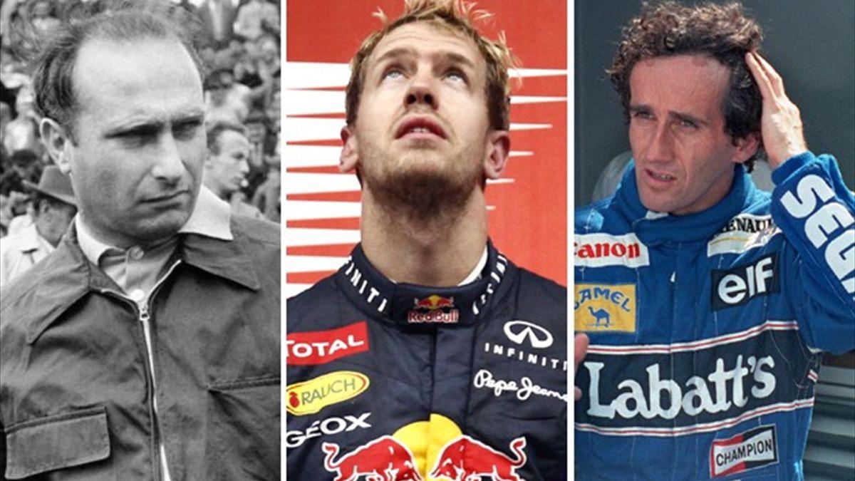 Fangio (Imago), Vettel (Reuters) and Prost (Reuters)