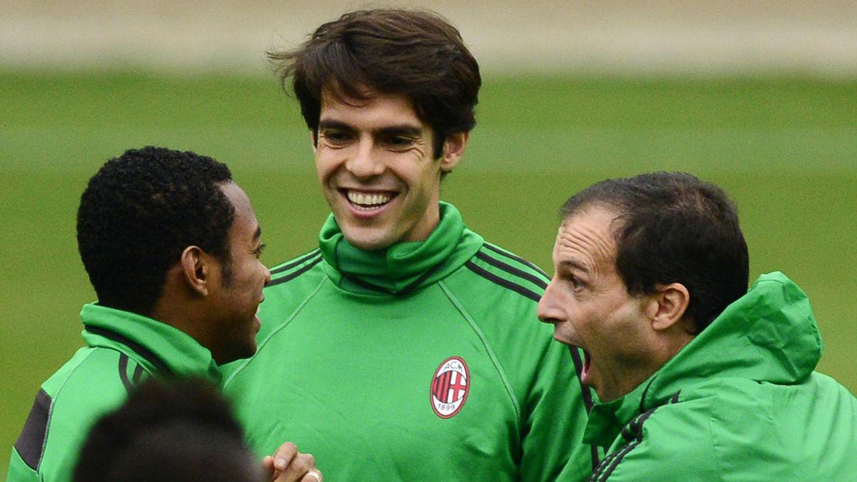 Robinho da Souza, Ricardo dos Santos 'Kaká' y Massimiliano Allegri (Milan)
