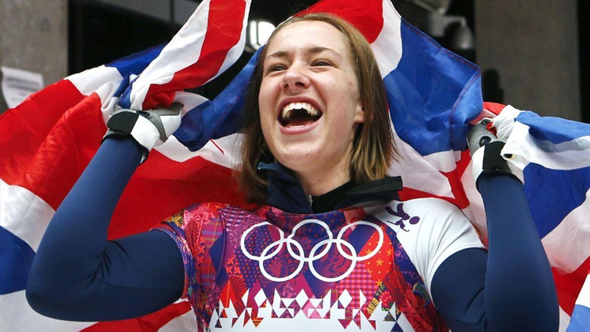 Lizzy Yarnold celebrates her Skeleton gold medal at Sochi (Reuters)