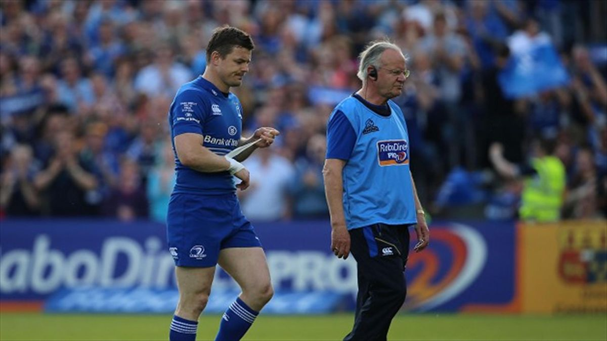 Leinster's Brian O'Driscoll goes off during the RaboDirect PRO12 Final at the RDS, Dublin, Ireland