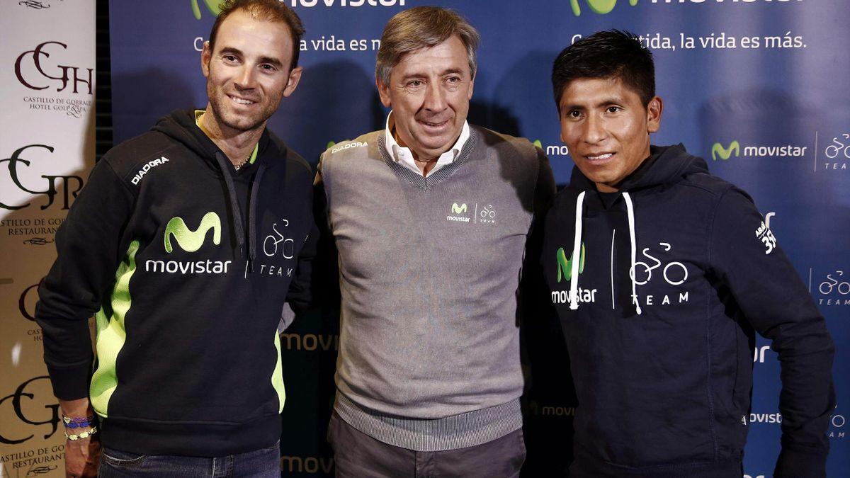 Nairo Quintana, Eusebio Unzue y Alejandro Valverde