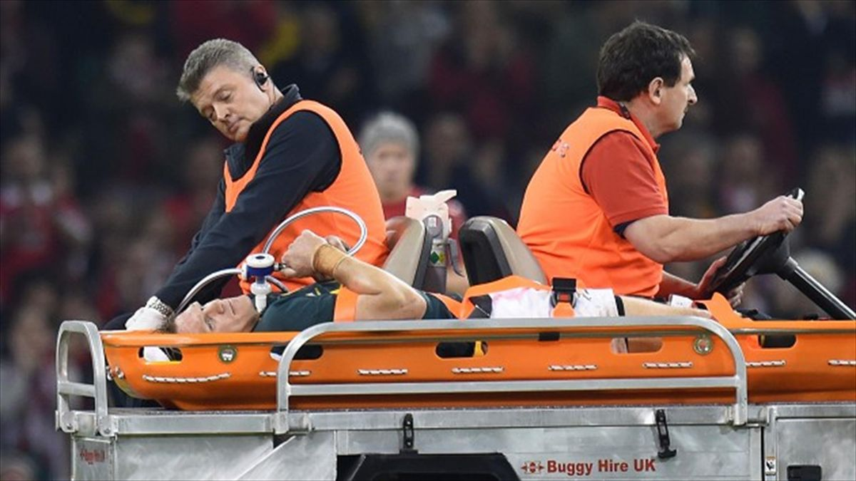 Jean de Villiers is carried off during South Africa's defeat against Wales on Saturday