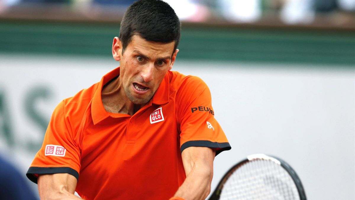 Novak Djokovic on his way to victory in the French Open first round.