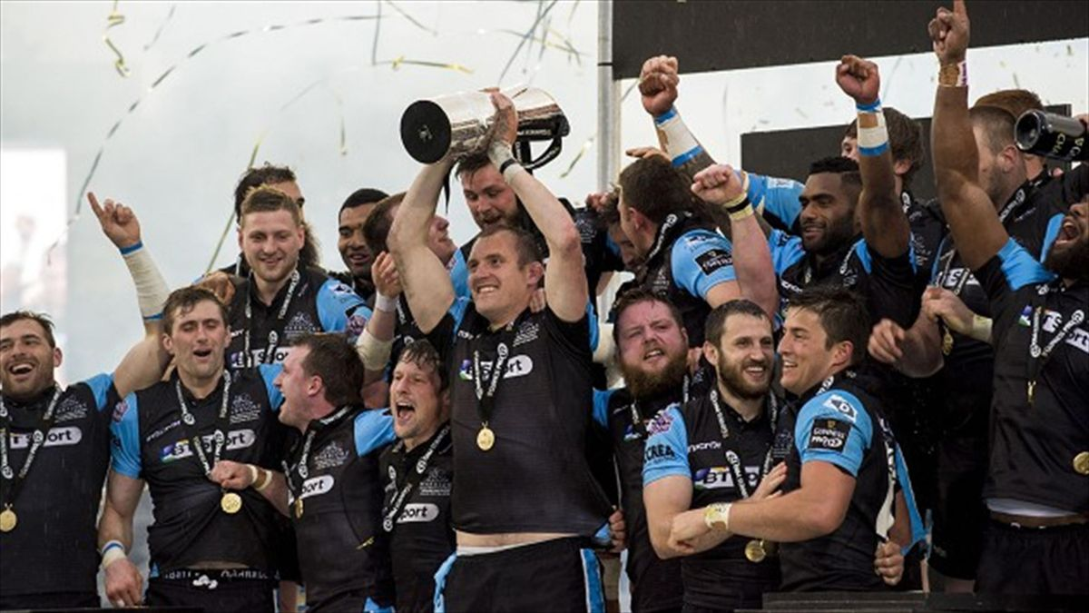 Glasgow Warriors captain Al Kellock bowed out of professional rugby by lifting the Guinness Pro12 trophy