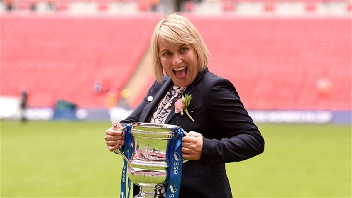 Emma Hayes led her Chelsea Ladies side to Women's FA Cup success on Saturday