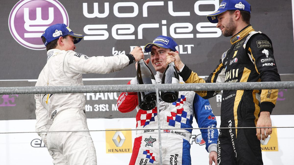 Nick de Vries, Oliver Rowland and Matthieu Vaxiviere, podium Spa-Francorchamps World Series by Renault 2015