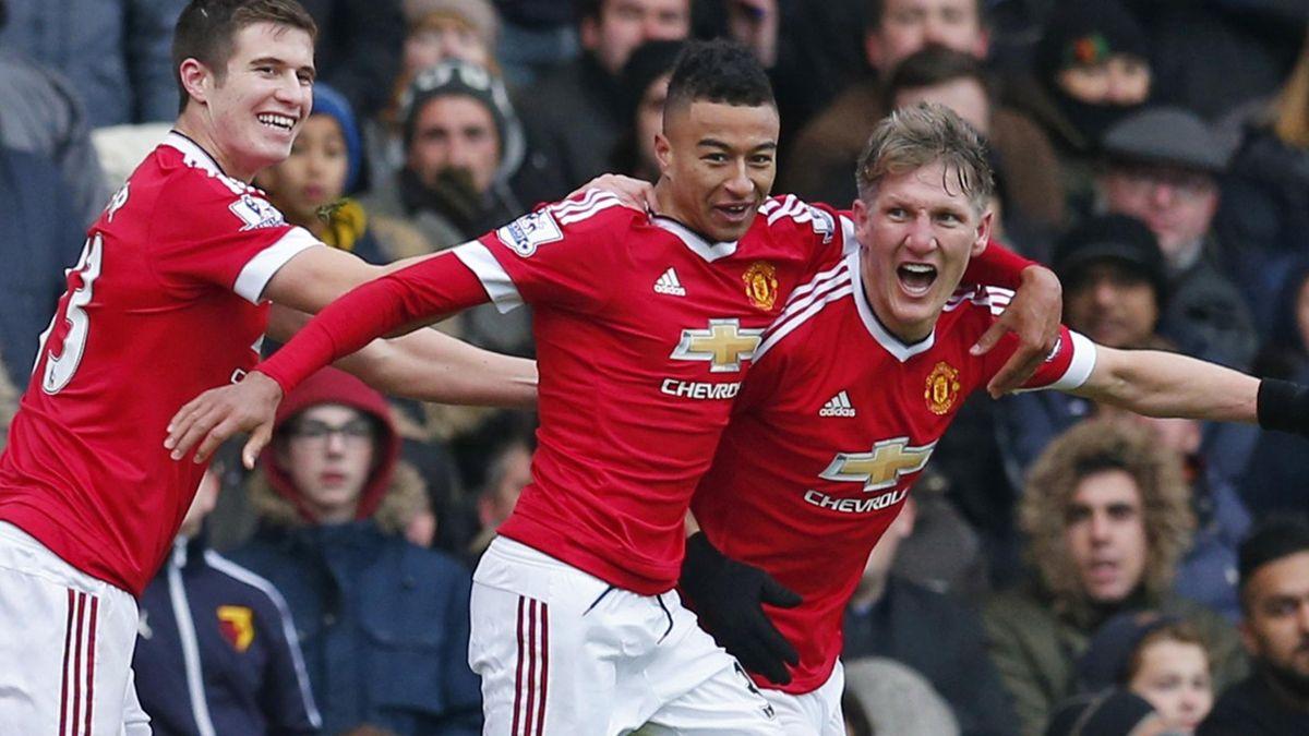 Bastian Schweinsteiger celebrates Manchester United's win over Watford