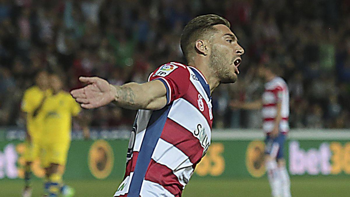 Rochina celebra su gol ante Las Palmas