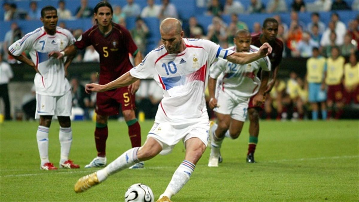 Zinedine Zidane scores the winner for France in the 2006 World Cup semi-final from the penalty spot
