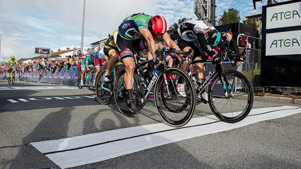 Another second place finish for John Degenkolb at the 2016 Arctic Race of Norway as he is clipped at the line by new race leader Danny van Poppel (Team Sky) on stage 2 - Photo: Pauline Ballet/ARN