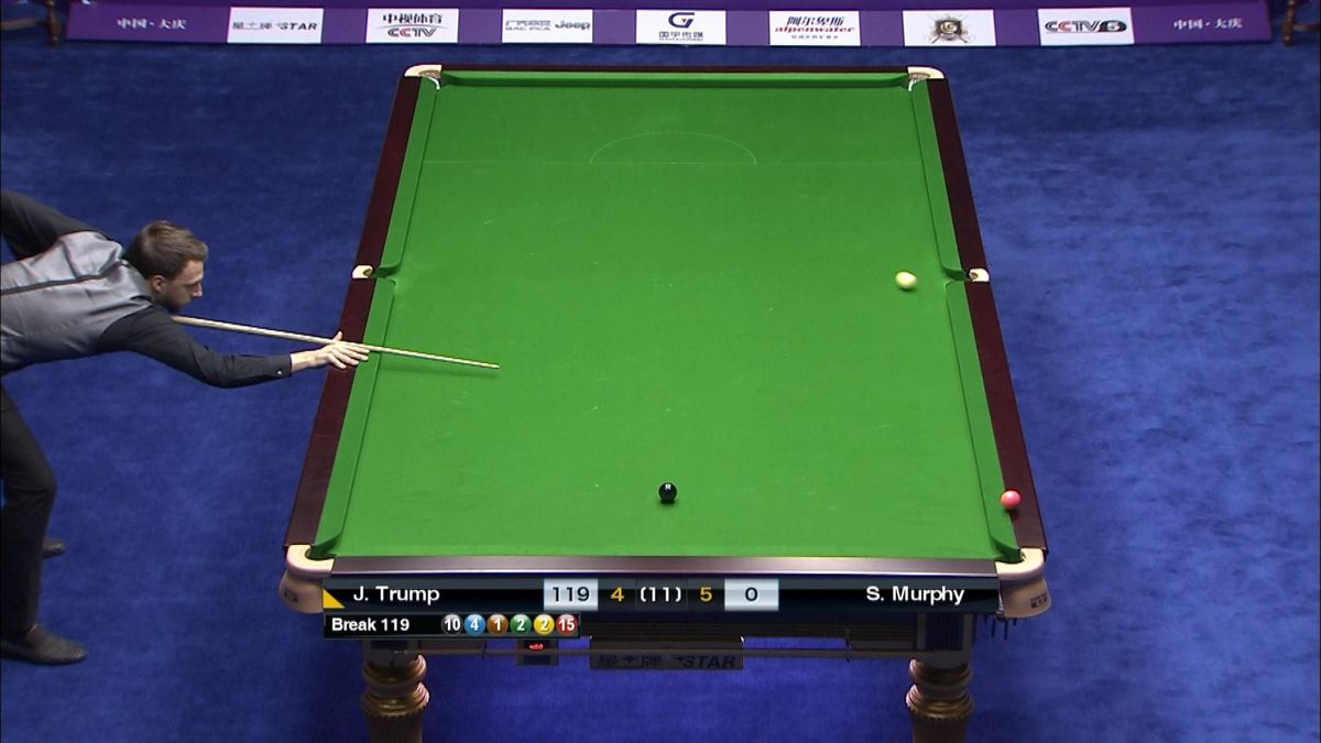 Snooker : Judd Trump smashing the balls in to finish the 10th frame