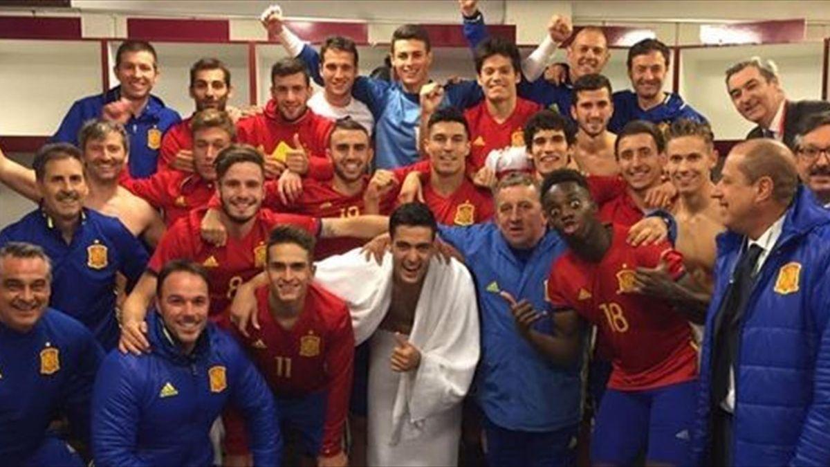 España celebra la clasificación para el Europeo sub-21