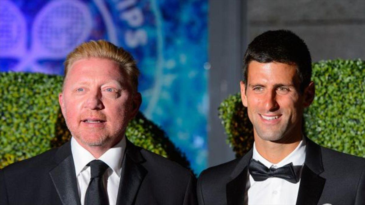 Novak Djokovick pictured right, won six grand slam titles with Boris Becker, left, as his coach