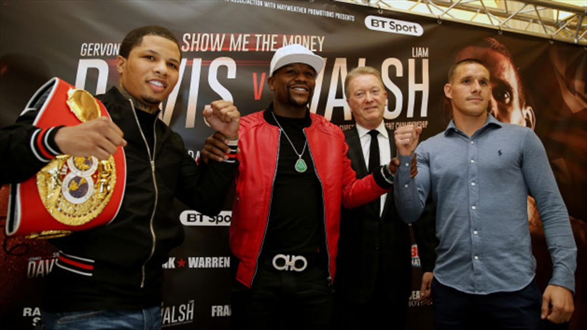 Liam Walsh, right, and Gervonta Davis, left, fight at London's Copper Box Arena on Saturday