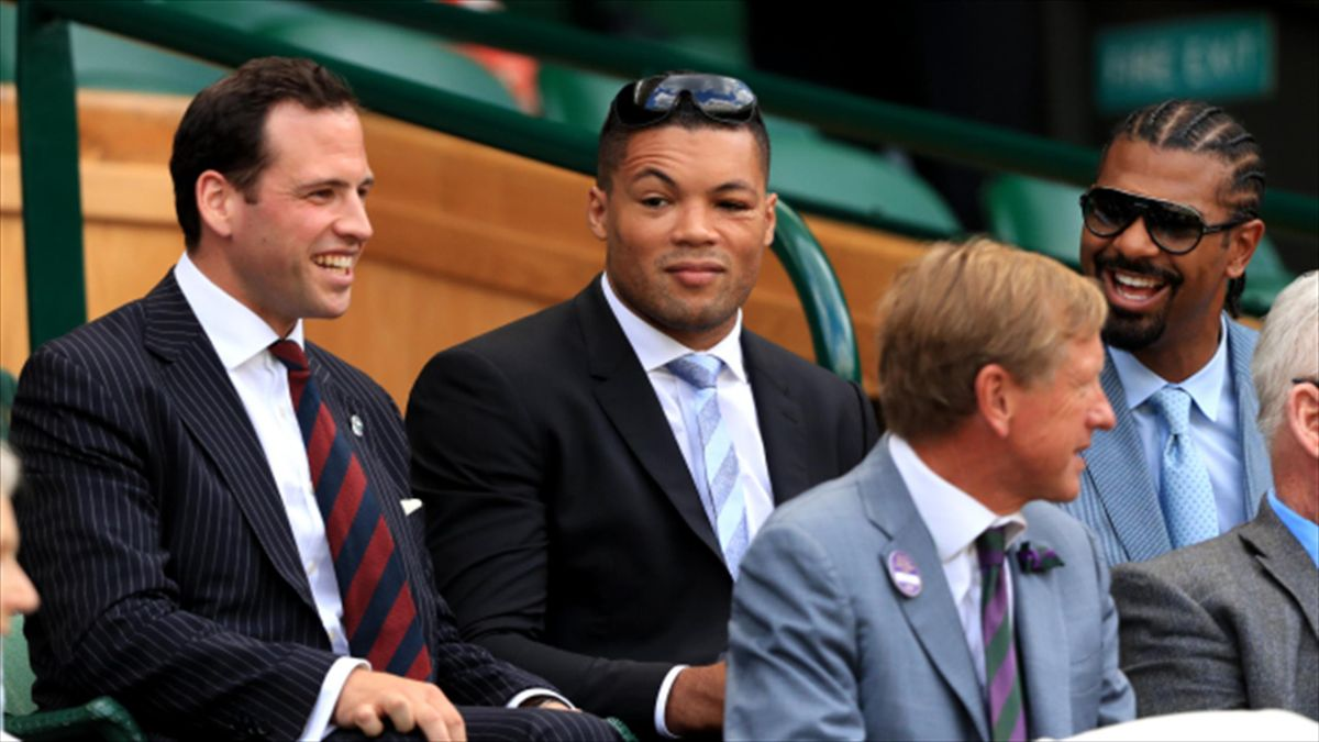 David Haye, right, and Joe Joyce, centre, have teamed up in a new three-year promotion with a free-to-air comedy satellite channel