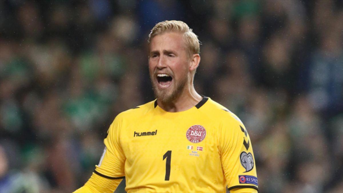 "Kasper Schmeichel, pictured, has saluted his ""world-class"" Denmark team-mate Christian Eriksen"