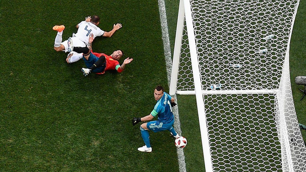 Gol de Ramos durante el España-Rusia
