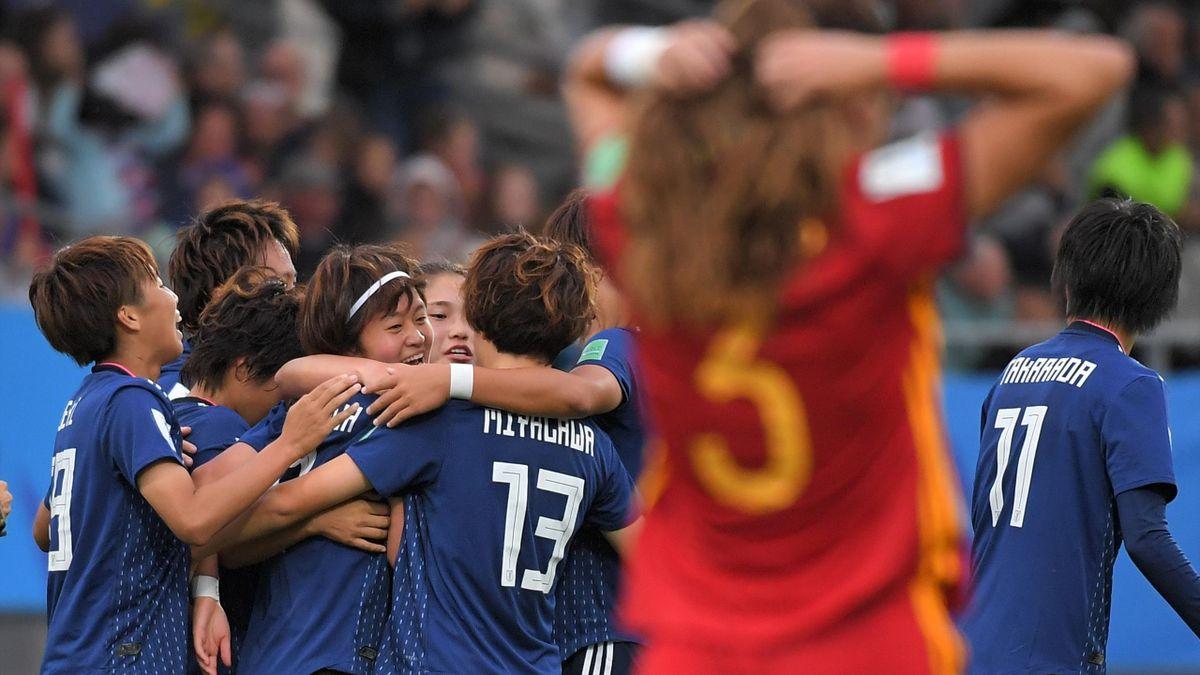 Japón celebra un gol ante España en la final del Mundial Sub-20