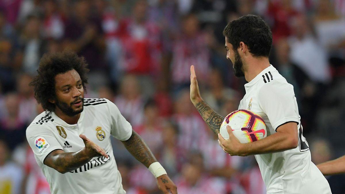 Isco celebra su gol en el Athletic-Real Madrid