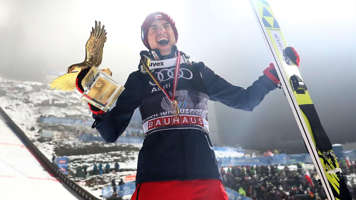 Kamil Stoch of Poland celebrates after he wins the FIS Nordic World Cup Four Hills Tournament on January 6, 2018 in Bischofshofen, Austria. Kamil Stoch of Poland, the second ski jumper in history who won all four legs of the Four Hills Tournament.
