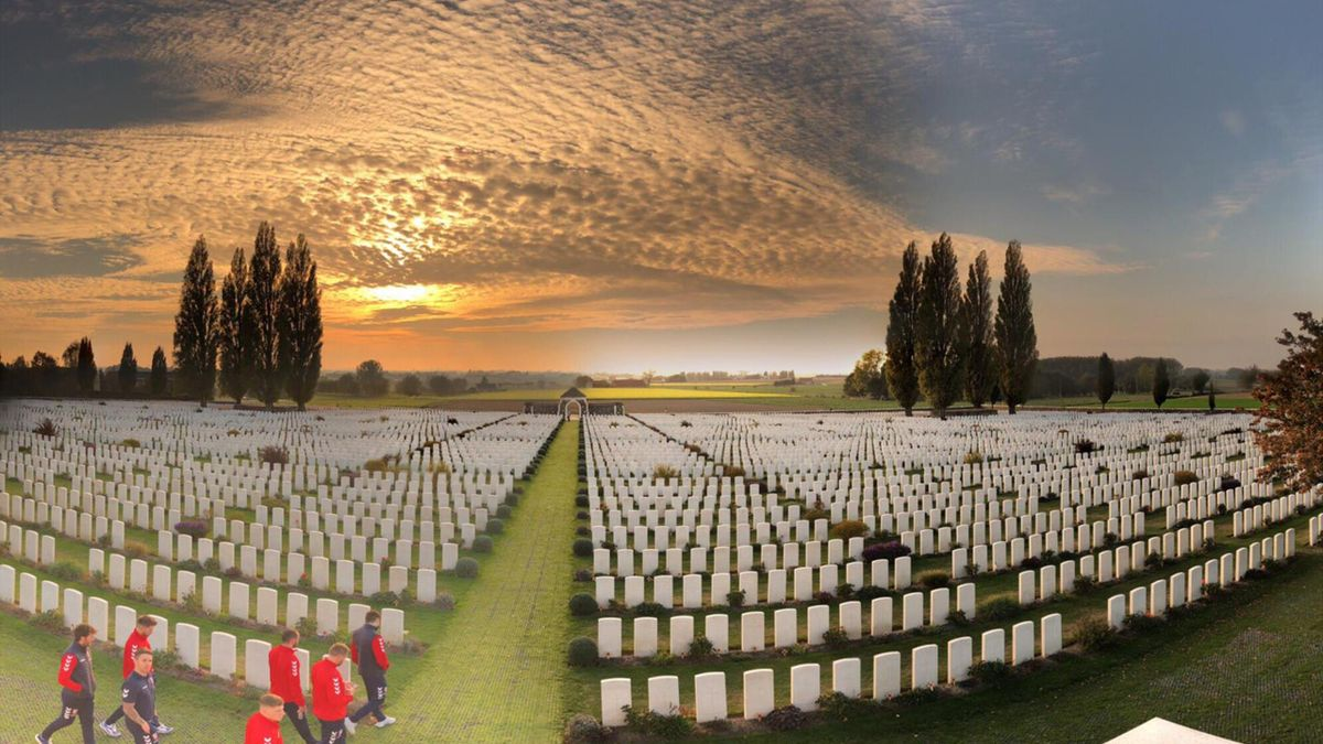 The England squad visit the Tyne Cot Commonwealth War Graves Cemetery and Memorial to the Missing during their trip to the Western Front at Ypres