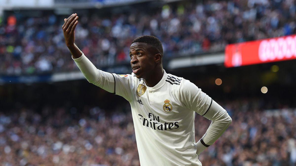 Vinicius celebra el 1-0 en el Real Madrid-Valladolid