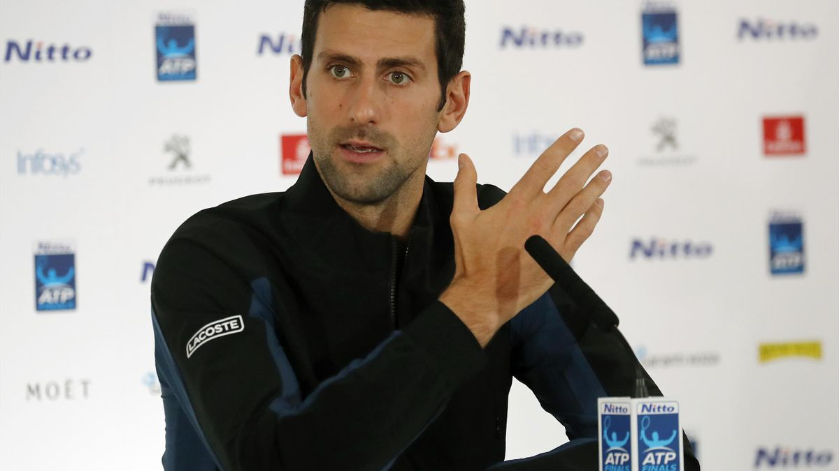 Novak Djokovic speaking at a press conference ahead of the ATP Finals