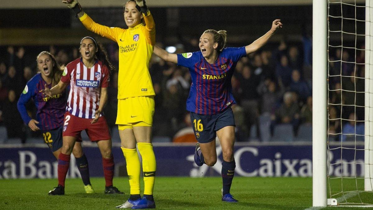 Duggan celebra su gol en el Barcelona-Atlético