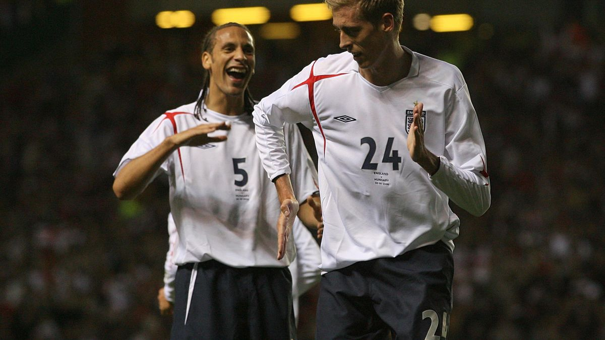 Peter Crouch performs his 'robot' dance after scoring for England against Hungary at Old Trafford in 2006