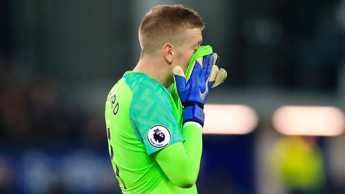 Jordan Pickford had an afternoon to forget in the Everton goal (Peter Byrne/PA).