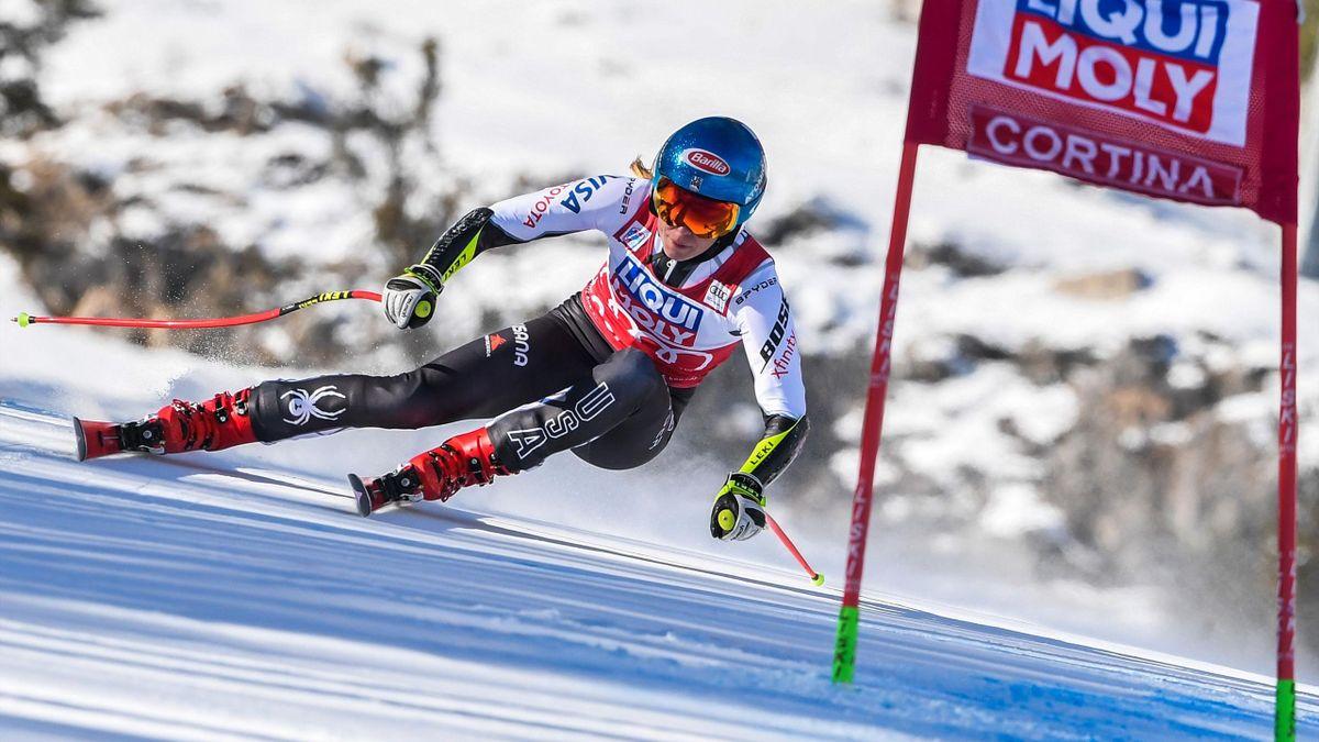 Mikaela Shiffrin lors du Super G  de Cortina d'Ampezzo le 20 janvier 2019