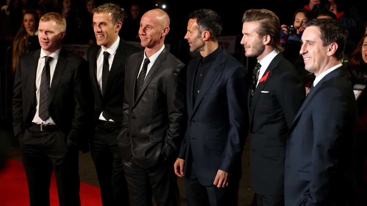 Paul Scholes, Phil Neville, Nicky Butt, Ryan Giggs, David Beckham și Gary Neville