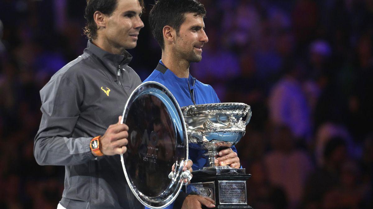 Novak Djokovic e Rafael Nadal, cerimonia di premiazione Australian Open 2019