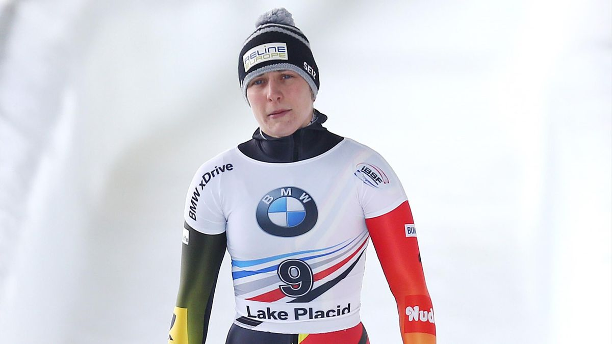 Tina Hermann of Germany reacts after her second run of the the Skeleton competition on day 1 of the 2019 IBSF World Cup Bobsled & Skeleton at the Mount Van Hoevenberg Olympic Bobsled Run.