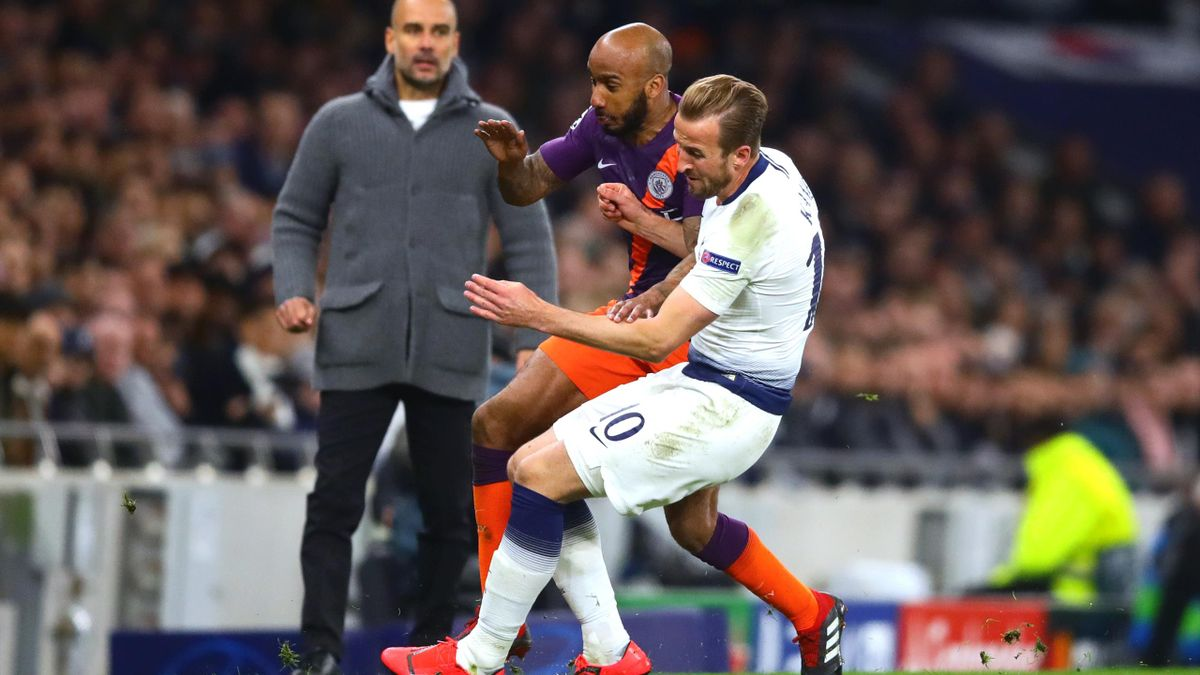 Kane suffered his ankle injury in this challenge with Manchester City's Fabian Delph