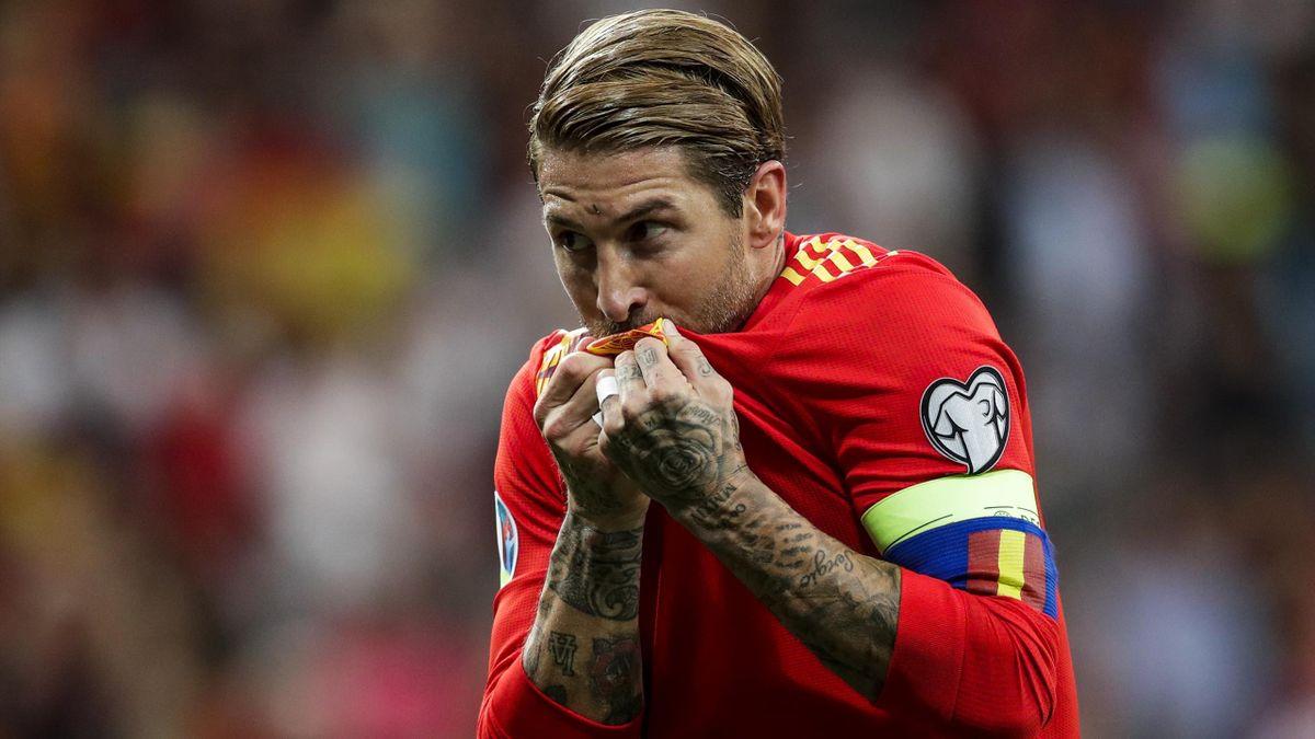 Sergio Ramos, con la camiseta de España