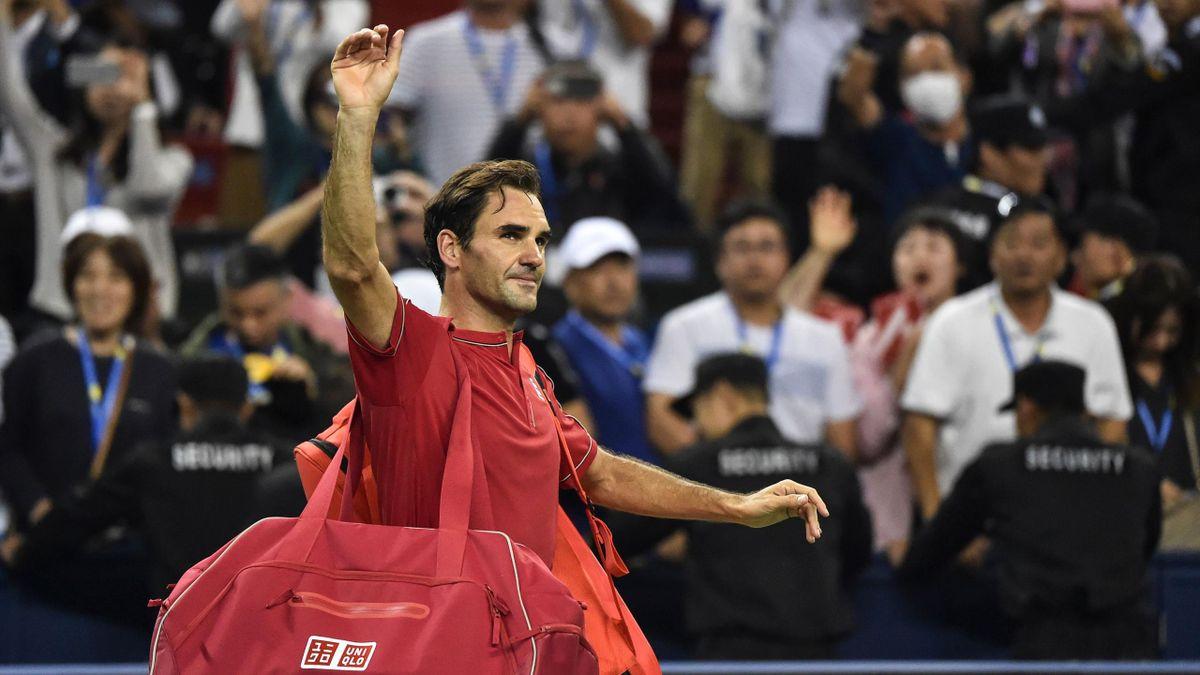 Roger Federer tras perder en los cuartos de Shanghái