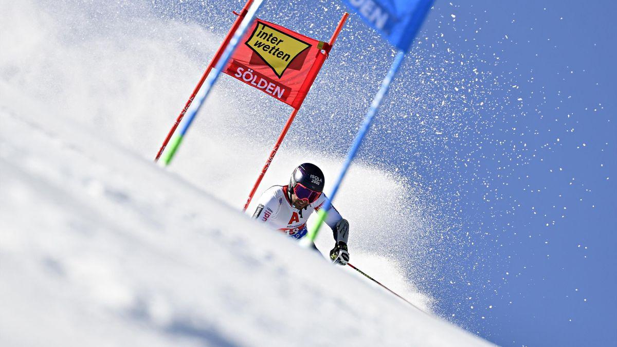 Mathieu Faivre lors de la première manche du géant de Sölden 2019