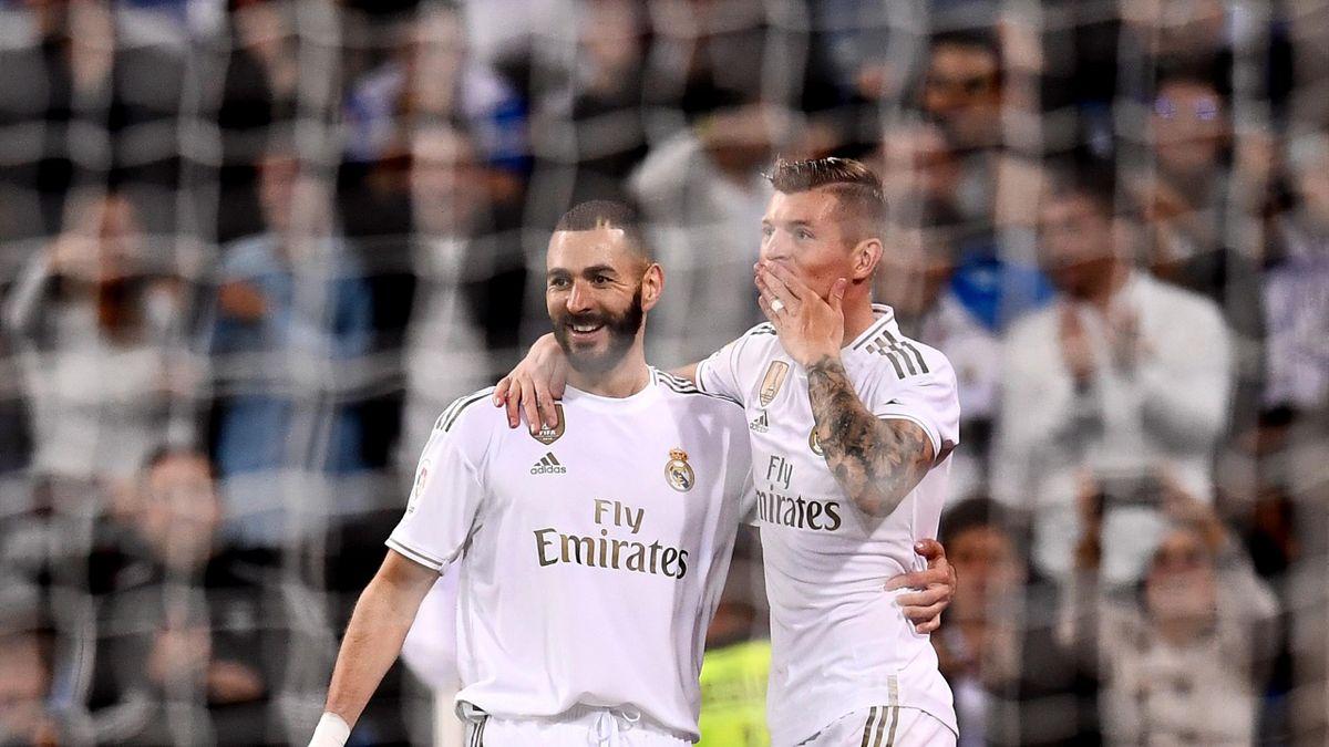 Benzema y Kroos en el partido Real Madrid-Leganés