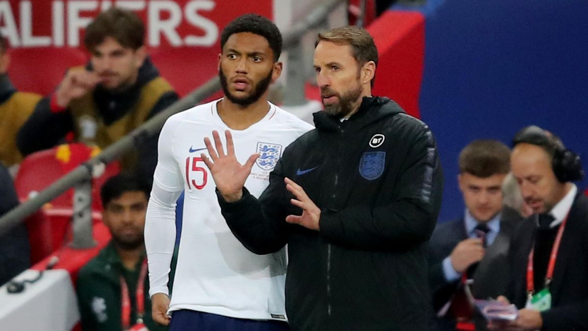 Joe Gomez with England Manager Gareth Southgate during the UEFA Euro 2020 qualifier between England and Montenegro at Wembley Stadium on November 14, 2019 in London, England