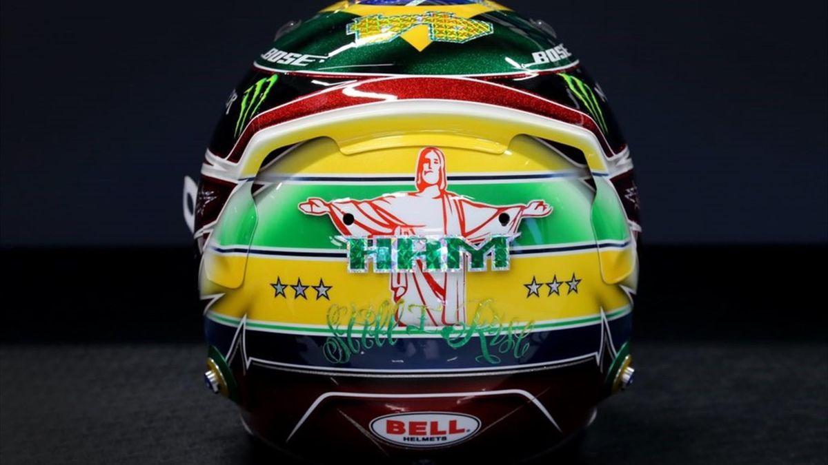 Le casque spécial de Lewis Hamilton (Mercedes) au Grand Prix du Brésil 2019