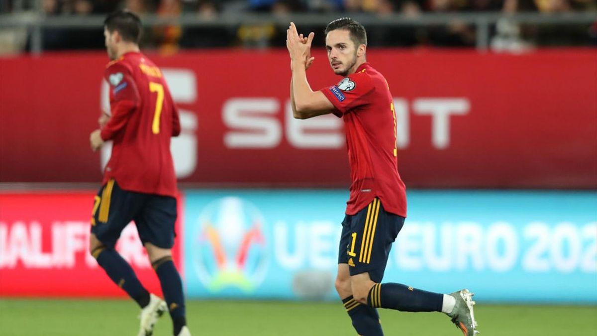 Sarabia celebra su gol en el España-Malta