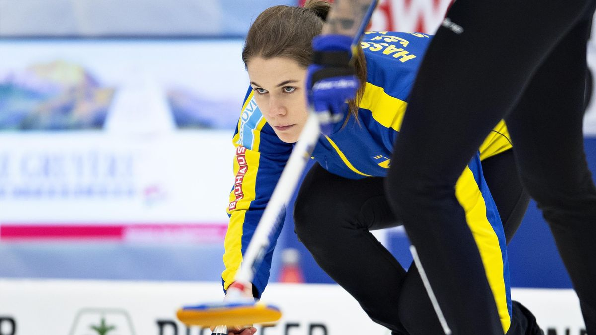 Sweden's Anna Hasselborg competes in the Curling World Championship final Sweden v Switzerland in Silkeborg, Denmark on March 24, 2019