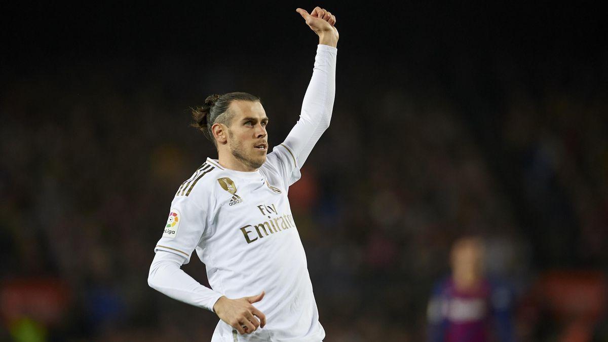 Bale durante el Clásico tras ser anulado su gol