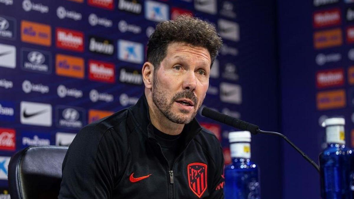 Simeone en la rueda de prensa previa al partido ante el Sevilla