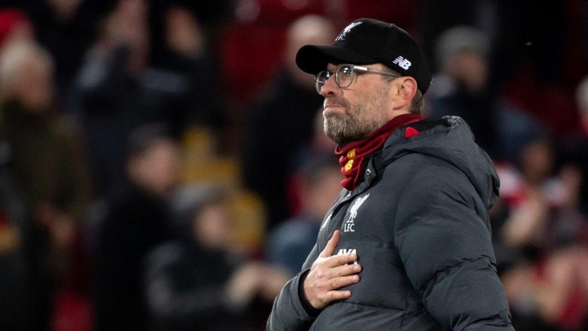 Klopp agradeciendo a los aficionados de los reds en el Liverpool-Atlético de Madrid