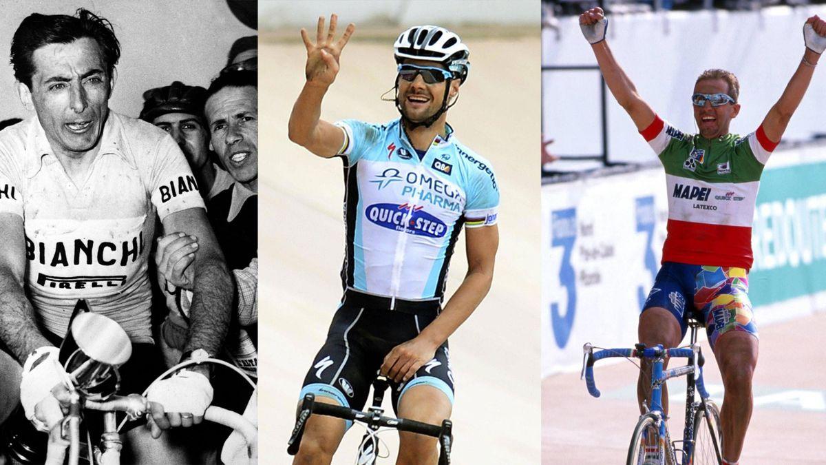 Fausto Coppi, Tom Boonen, Andrea Tafi alla Parigi Roubaix