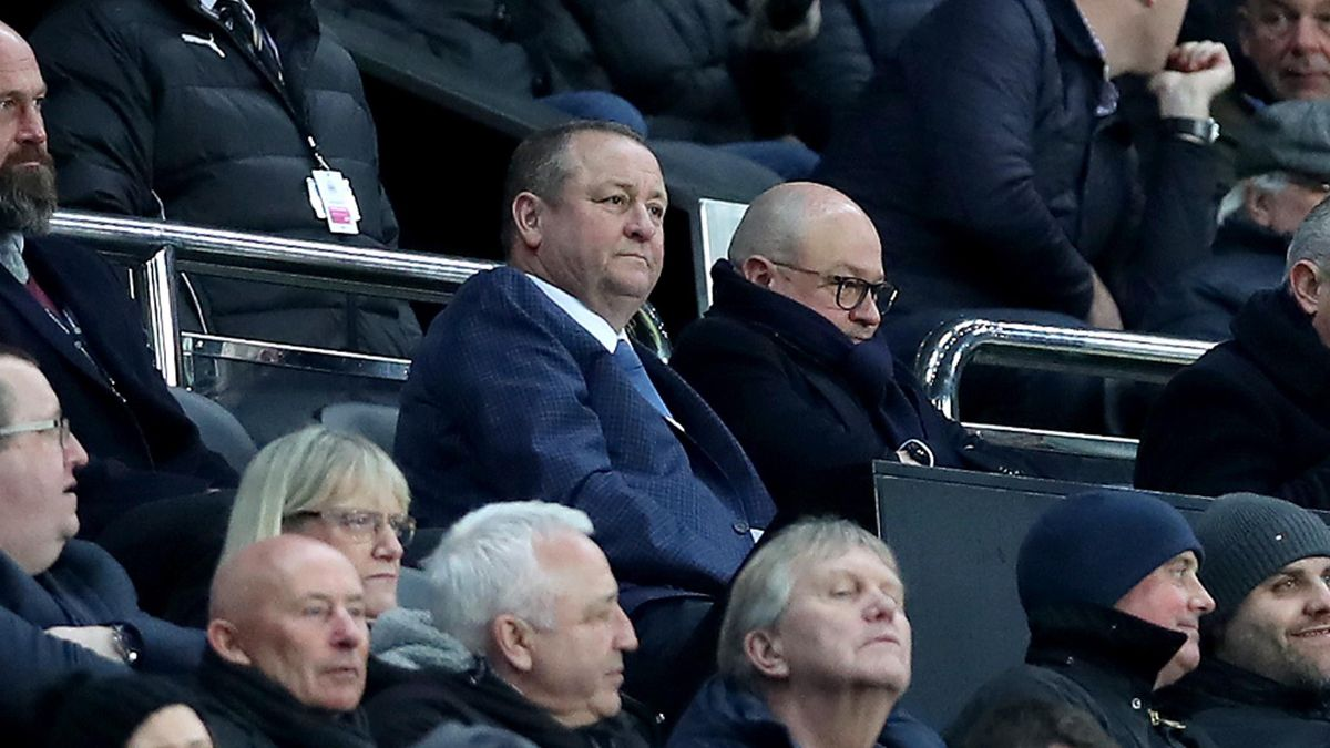 Owner Mike Ashley watches on during the FA Cup Third Round Replay match between Newcastle United and Rochdale at St. James Park on January 14, 2020 in Newcastle upon Tyne