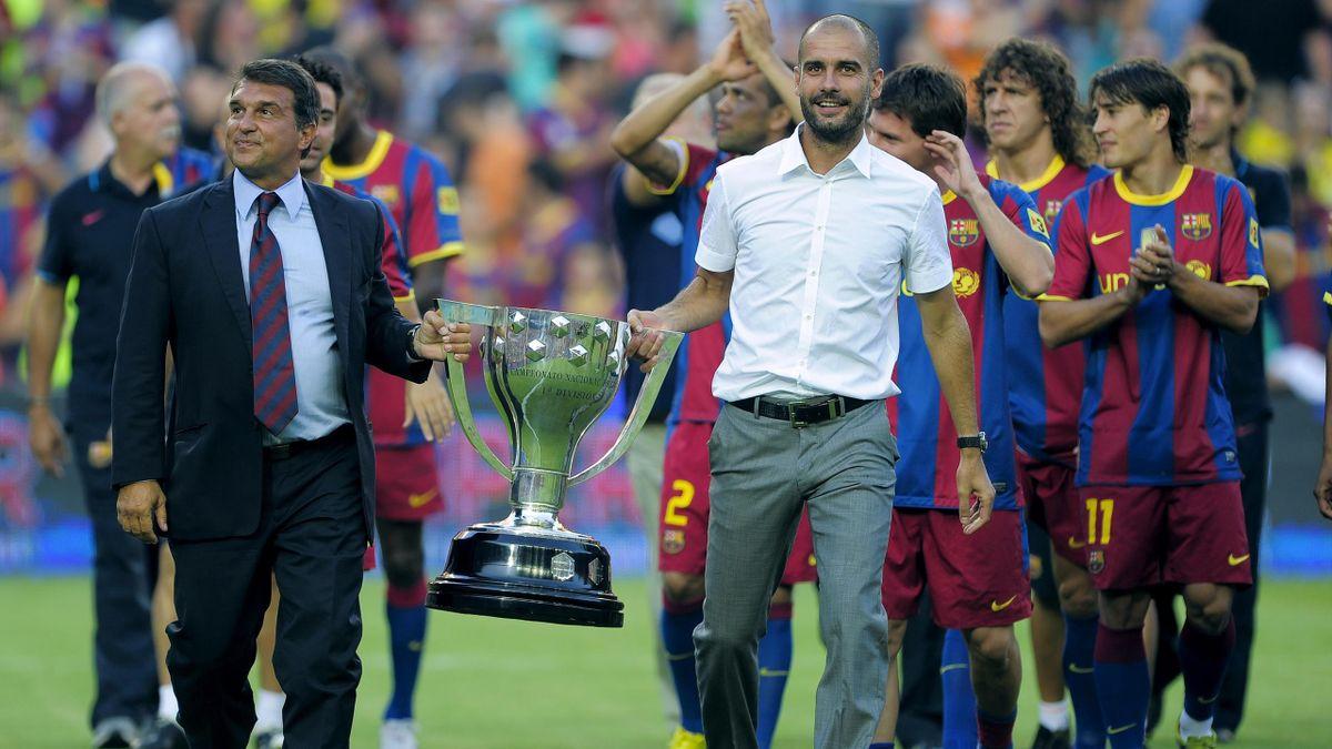 Juan Laporta și Pep Guardiola, campioni în Spania